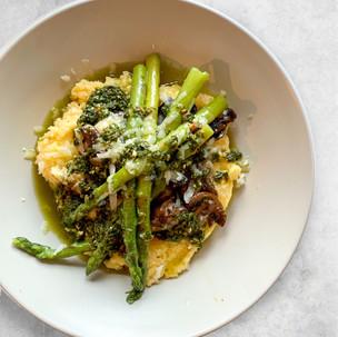 Polenta Verde, Mushrooms and Gorgonzola