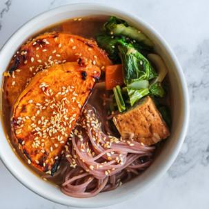 Miso Pumpkin Noodle Ramen with Tofu & Asian Greens