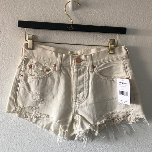 Free People Worn White Shorts 24