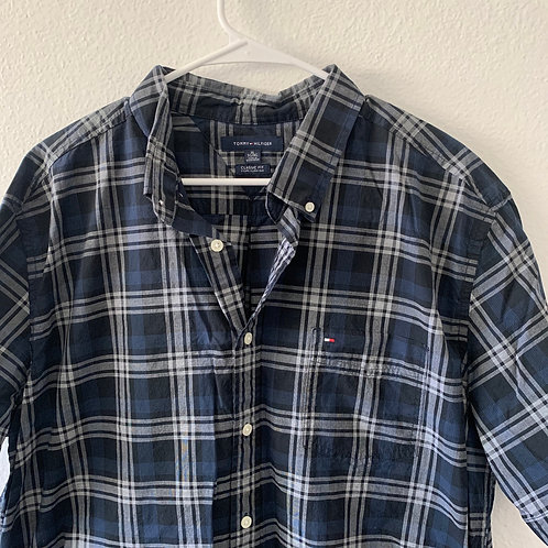 Tommy Hilfiger Men Blue Button Down Sz XL