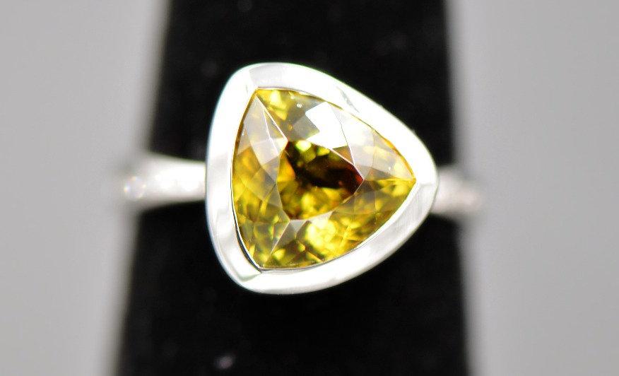 Sphene and Diamond Ring