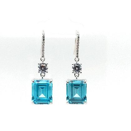 Aqua Simple Drop Earrings