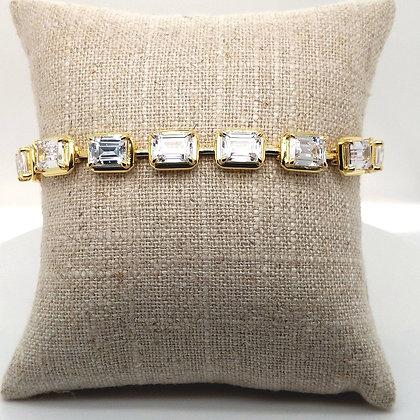 Emerald Cut Yellow Gold Tennis Bracelet