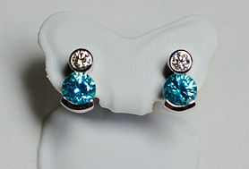 Diamond and Zircon Earrings