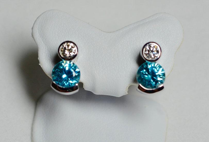 Diamond and Blue Zircon Earrings