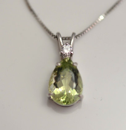Golden Beryl and Diamond Pendant
