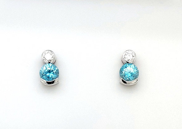 Diamond and Blue Zircon Earrings