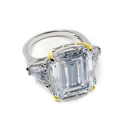 Step cut Colorless Cocktail Ring