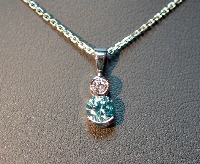 Diamond and Zircon Pendant