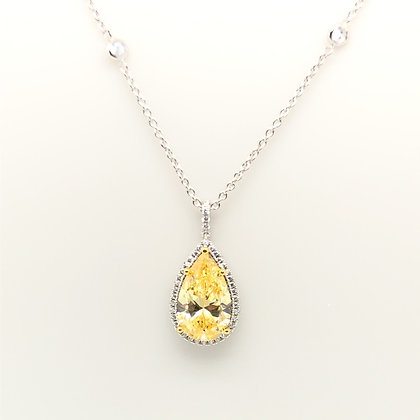 Yellow Pear Pendant with Halo