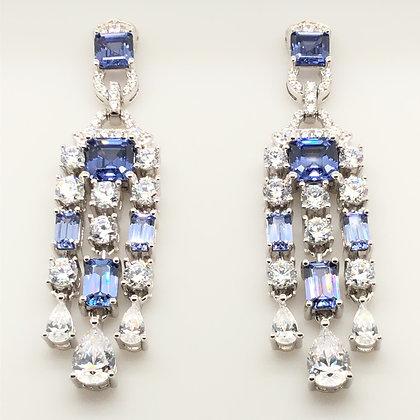 Vintage Inspired Sapphire Chandelier Earrings