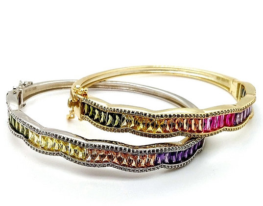 Rainbow Baguette Bangle Bracelet