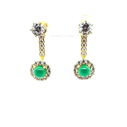 Classic studs with Emerald Cabochon Jacket