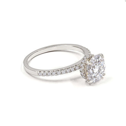 Fancy Solitaire Ring-White