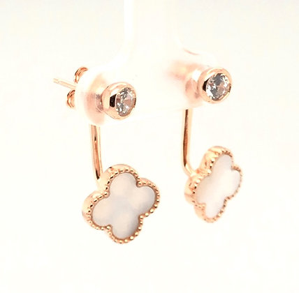 Rose Gold and Pearl Inlay Earrings