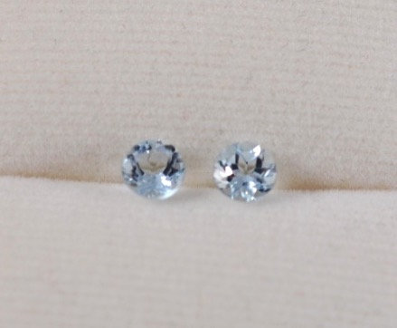 Pair of Round Brilliant Aquamarine