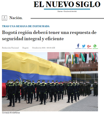 Bogotá región deberá tener una respuesta de seguridad integral y eficiente