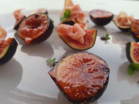 Figues de Solies-Pont (83), au jambon cru et caramélisées.