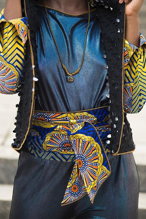 ceinturbantop bleu gold