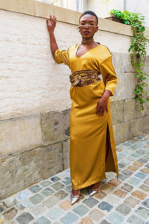 robe tunique longue dorée