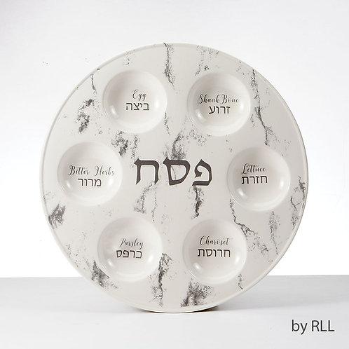 Marble Design Ceramic Seder Plate