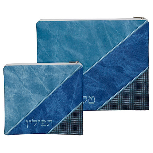 BLUE LEATHER LIKE TALIT - TEFILIN SET 36*29 CM, WITH EMBROIDERY
