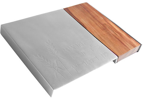 Yair Emanuel Challah Board in Aluminum and Wood with Modern Design