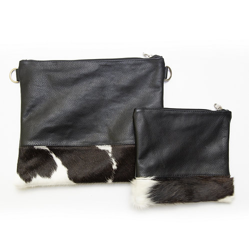 Genuine mix fur Leather Tallit and Tefillin bag  black MFR07