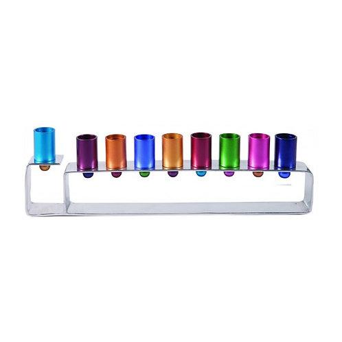 Yair Emanuel Anodized Aluminum Hanukkah Menorah with Bright Candleholders HMG-4
