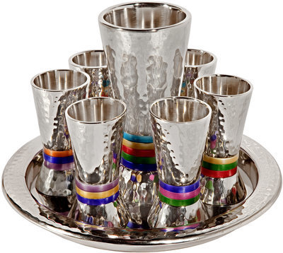 Set 6 cups + kiddush cup - nickel + hammerwork - multi color rings