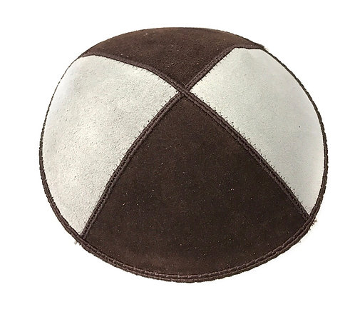 Brown and Grey Suede Kippah