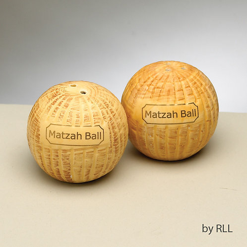 MATZAH BALL SALT/PEPPER SHAKERS, CERAMIC, SET OF 2