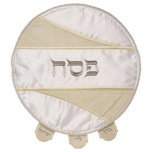 "Elegant White Satin Matzah Cover, Special Design-""Cuts"" Golden Glitter UK65147"