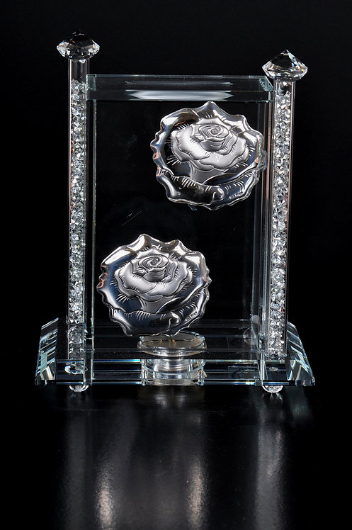 Crystal glass charity box with silver plated rose