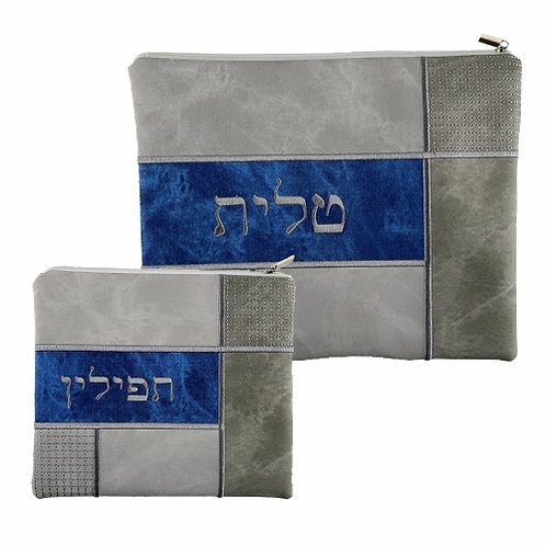 BLUE AND GREY LEATHER LIKE TALIT - TEFILIN SET 36*29 CM, WITH EMBROIDERY