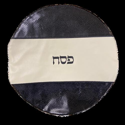 Genuine Leather Matzah cover  black and cream   MTC03