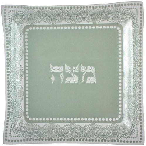 Glass Matzah tray White