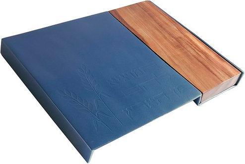 Metal Challah Board+ wood- blue