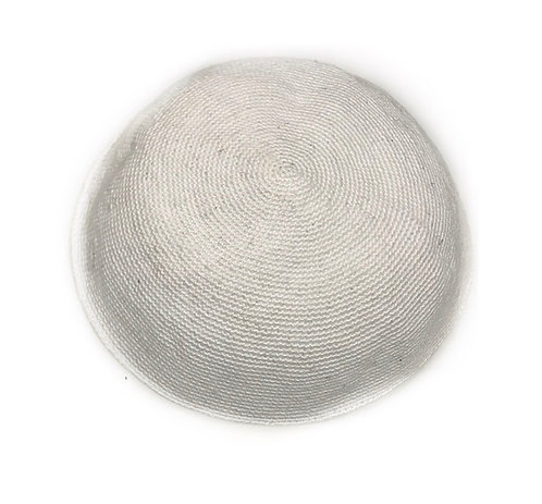 White Hand Knitted Kippah Size L