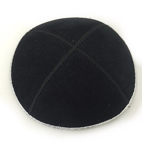 Black Suede Kippah With a Silver  Rim