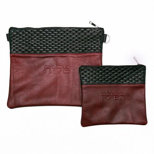 Genuine Leather Tallit and Tefillin bag black and burgundy   LR04