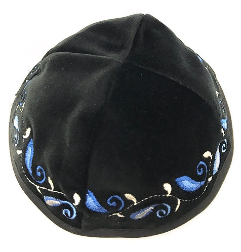 Black Velvet Kippah With Patterns # 13