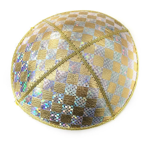 Gold and Silver Leather Kippah With Little Square Shapes