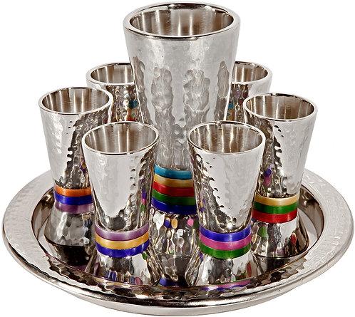 Set 6 cups + kiddush cup - nickel + hammerwork - multi color rings, Emanuel