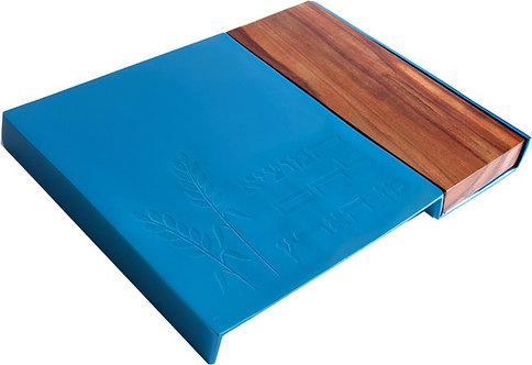 Metal Challah Board+ wood- turquoise