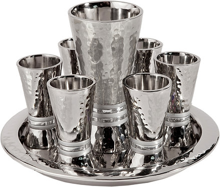 Set 6 cups + kiddush cup - nickel + hammerwork - silver rings