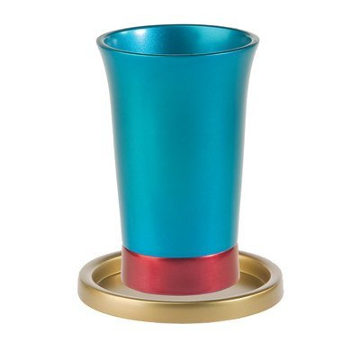 Yair Emanuel Blue, Red and gold Anodized Aluminum Kiddush Cup and Tray
