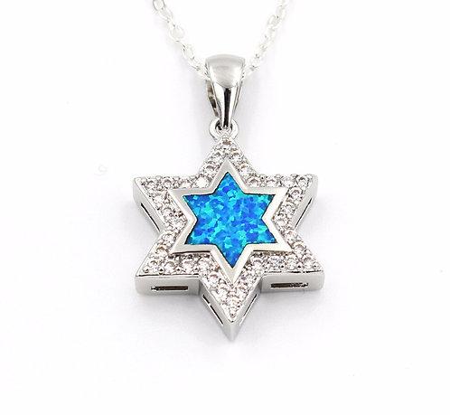 Nice Star Of David Blue Fire Opal Pendant Necklace