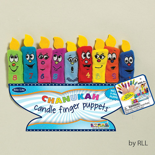CHANUKAH FINGER PUPPETS, 9 MENORAH CANDLES, CARDED