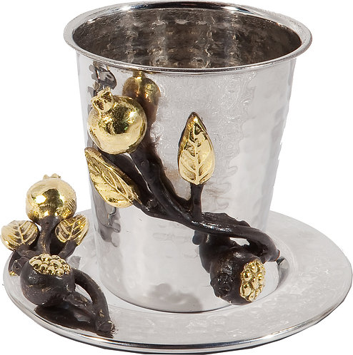 Kiddush cup + plate - stainless steel - pomegranates